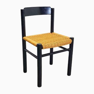 Vintage Modernist Black Lacquer Wood and Wicker Chair