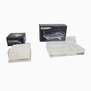 Set da scrivania o trucco vintage in lucite e plexiglas trasparente, anni '80