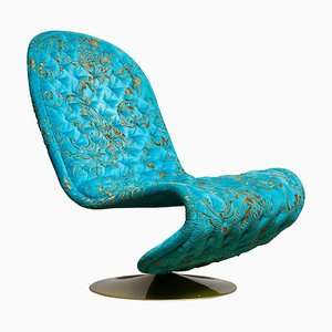 System 123 Lounge Chair in Turquoise Burnout Velvet by Verner Panton, 2000s