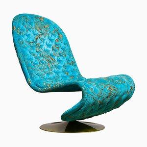 System 123 Sessel aus türkisfarbenem Burnout Samt von Verner Panton, 2000er