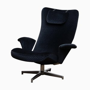 Black Velvet Contourett Ronto Swivel Chair by Alf Svensson for Dux Sweden, 1963
