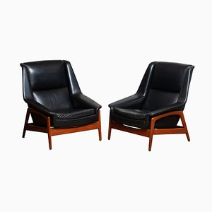 Profil Lounge Chairs in Tex & Leather by Folke Ohlsson for Dux, 1960s, Set of 2