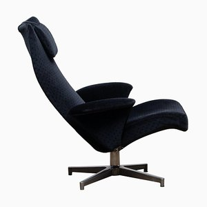 Black Velvet Contourett Ronto Swivel Chair by Alf Svensson for Dux, Sweden, 196