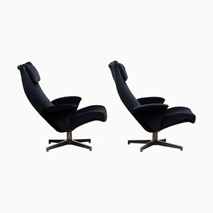 Black Velvet Contourett Ronto Swivel Chairs by Alf Svensson for Dux, 1963, Set of 2