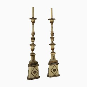 Antique Italian Gilded Wood Torchères, Set of 2