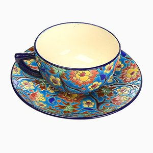 Cup & Bowl Set in Longwy Enamel