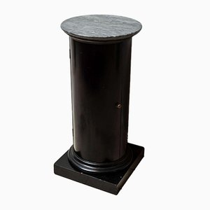19th Century Cylindrical Pot Cupboard in Ebonized Mahogany and Marble Top