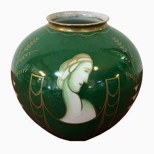 Handgefertigte Keramik Vase in Grün, Gold und Weiß von Rosenthal, 1940er