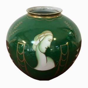Handmade Green, Gold, and White Ceramic Vase from Rosenthal, 1940s