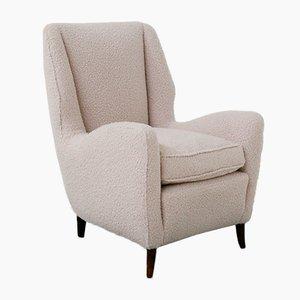 Mid-Century White Bouclè Fabric Lounge Chairs from ISA Bergamo, Set of 2