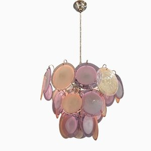 Pink Lilac Murano Glass Disc Chandelier by Gino Vistosi, 1970s