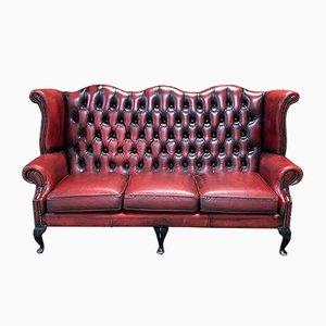 3-Sitzer Chesterfield Sofa aus rotem Leder, 1980er