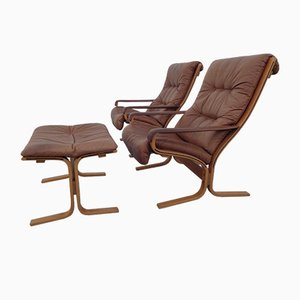 Norwegian Siesta Lounge Chairs and Ottoman Set by Ingmar Relling for Westnofa, 1960s