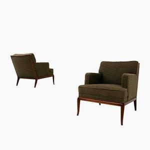 Braune Mid-Century Sessel mit Bouclè Bezug von TH Robsjohn-Gibbings, 1950er, 2er Set
