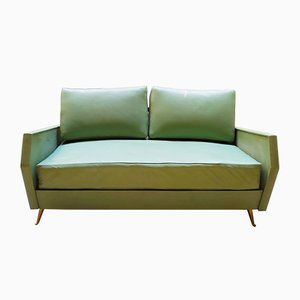 Italian Green Leatherette Sofa by Gio Ponti for ISA Bergamo, 1950s