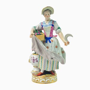 19th Century Lady Gardener Figurine by M.V. Acier for Meissen