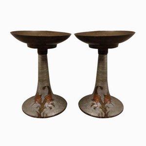 Antique Art Nouveau Candleholders, Set of 2