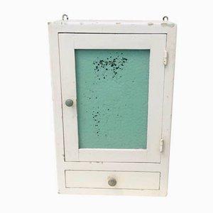 Botiquín de vidrio verde con cajón, años 40