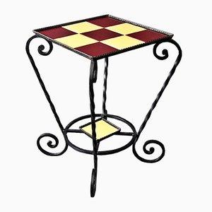 Tavolino in ferro battuto e piastrelle, anni '50