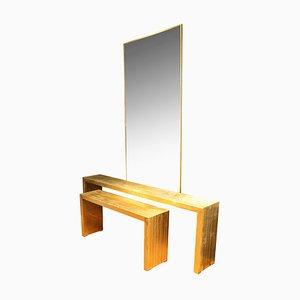 Mesas consola italianas vintage de madera dorada, años 70. Juego de 2