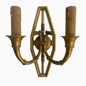 Französische Vergoldete Wandleuchten aus Bronze, 19. Jh., 2er Set