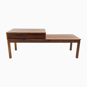 Scandinavian Rosewood Media Bench with 2 Drawers, 1960s