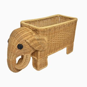Mid-Century Rattan Elephant for Plants and Magazines, 1960s