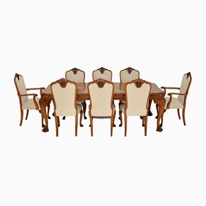 Queen Anne Carved Walnut Dining Table & Chairs Set, 1920s, Set of 9