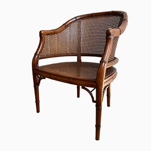 Vintage Chippendale Style Faux Bamboo Easy Chair, 1970s
