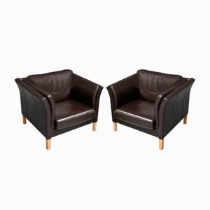 Danish Leather Armchairs, 1980s, Set of 2