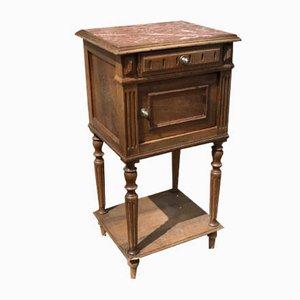 Table de Chevet Antique avec Plateau en Marbre