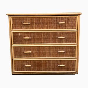 Vintage Bamboo and Wicker Chest of Drawers, 1970s