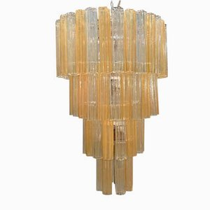 Large Mid-Century Murano Glass Tube Chandelier from Venini, 1970s