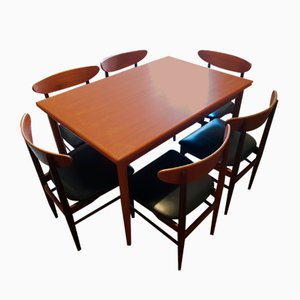Danish Teak Extendable Dining Table & Chairs Set from Drylund, 1960s, Set of 7