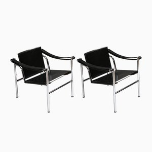 Mid-Century Model LC2 Lounge Chairs by Pierre Jeanneret, Charlotte Perriand & Le Corbusier for Cassina, 1960s, Set of 2