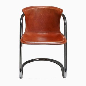 Tan Leather Dining Chairs by Willy Rizzo for Cidue, 1970s, Set of 6