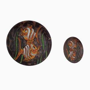 Piatto vintage in ceramica di Ruscha, anni '70, set di 2