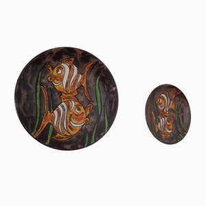 Vintage Ceramic Plate from Ruscha, 1970s, Set of 2