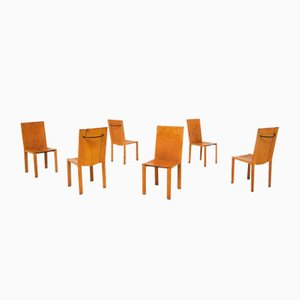 Vintage Italian Leather Model Carol Dining Chairs by Carlo Bartoli for Matteo Grassi, 1980s, Set of 6