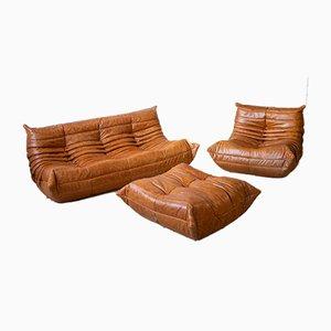 Vintage Togo Wohnzimmer Set aus Kiefer & Leder von Michel Ducaroy für Ligne Roset, 3er Set