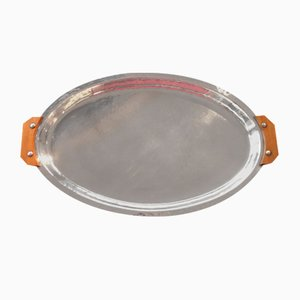 Art Deco Silver-Plated Oval Tray with Wooden Handles, 1930s
