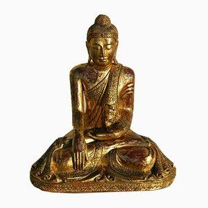 Thai Golden Wood Bhumisparsha Mudra Buddha, 1920s