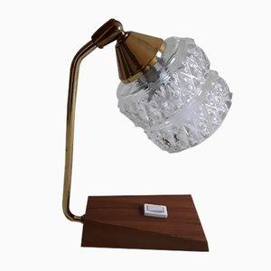 Kleiner Vintage Teakholz & Verstellbarer Glasschirm Modell Nr. 52 Tischlampe von Temde, 1960er