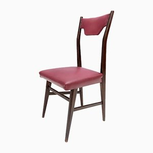 Italian Ebonized Beech and Crimson Red Skai Dining Chairs, 1950s, Set of 4