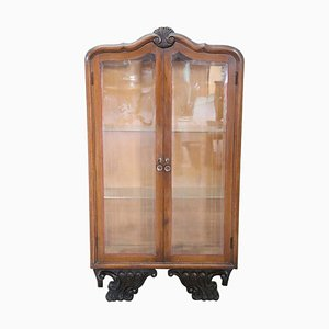 Vintage Walnut Carved Display Cabinet, 1940s