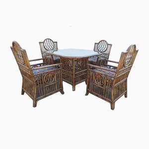 Vintage Bamboo Dining Table & Chairs Set, 1970s, Set of 5