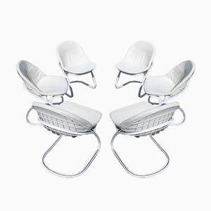 Italienische Sabrina Esszimmerstühle aus Leder von Gastone Rinaldi für Thema, 1970er, 6er Set