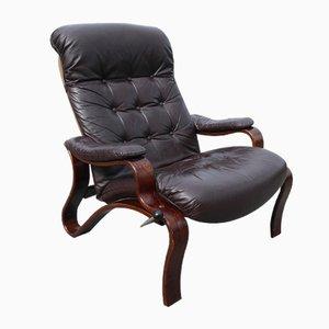 Dänischer Verstellbarer Vintage Sessel aus Bugholz & Braunem Leder, 1960er