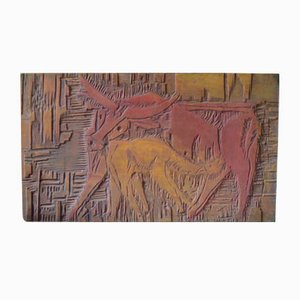 Carved Wooden Plaque, 1970s