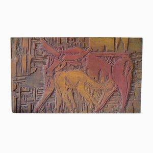 Tafel aus Geschnitztem Holz, 1970er